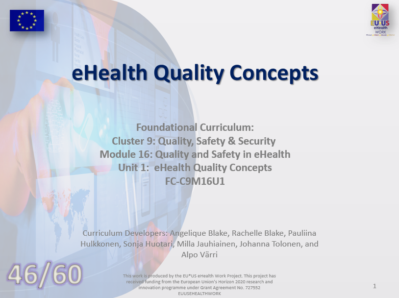 Lesson 46: eHeatlh Quality Concepts
