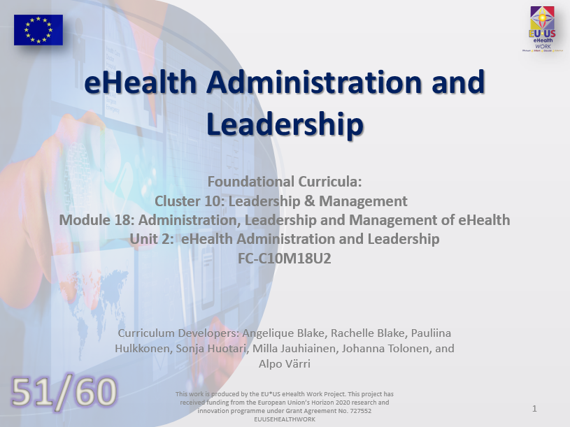 Lession 51: eHealth Administration and Leadership