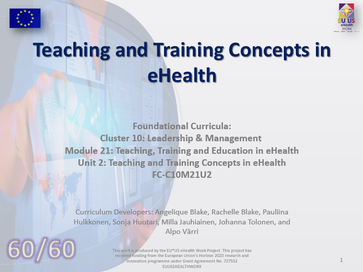 Lesson 50: Teaching and Training Concepts in eHealth