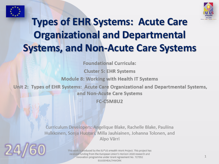 Lesson 24: Types of EHR Systems