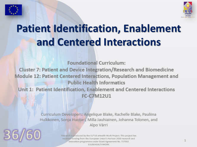 Lesson 36: Patient Identification, Enablement and Centered Interactions